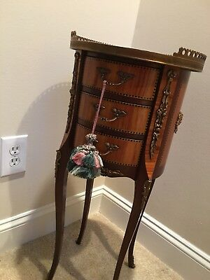 Antique French Louis XV Style  Inlaid  Stand 3-drawer
