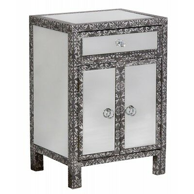 Black Silver Embossed Mirrored Glass Bedside Cabinet Lamp Table (T4320) Bali