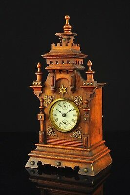 Antique German Mantel Alarm Clock with Brass Decoration approx.1900