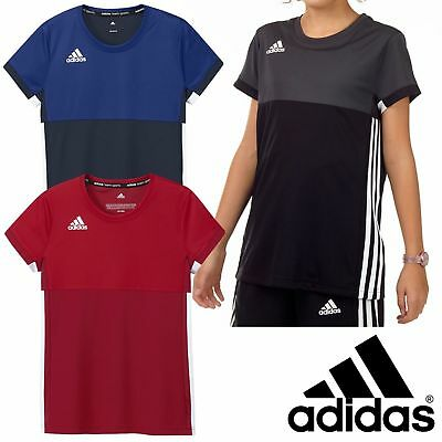 Adidas T16 Short Sleeved T-Shirt Kids Girls Climacool Gym Sports Track Tee