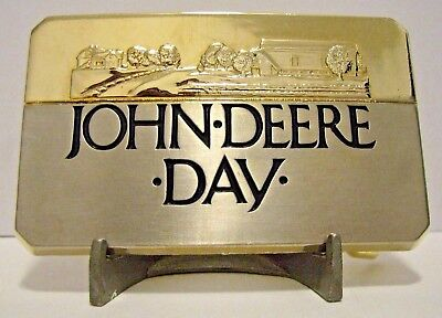 * John Deere Day DEALERSHIP 1988 Brass Belt Buckle Moline IL  jd collectible