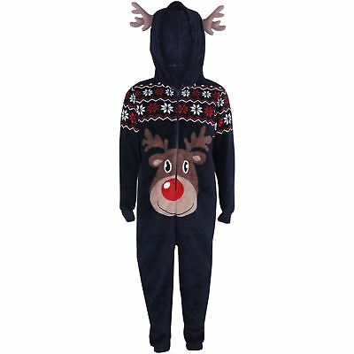 Kids Girls Boys A2Z Onesie One Piece Soft Fluffy Reindeer Xmas Costume 7-8 Years
