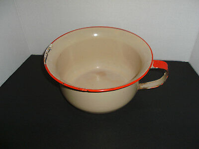 Vintage Enameled Chamber Pot Beige/cream Red Trim Mid Century Collectible Shabby