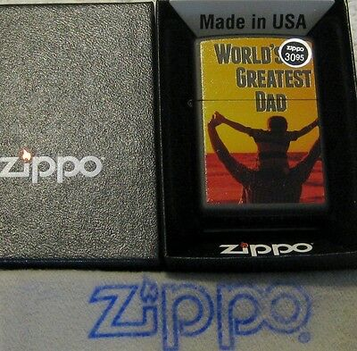 ZIPPO  WORLD'S GREATEST DAD Lighter CHILD ON SHOULDERS Mint In Box NEW