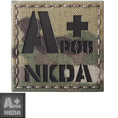 APOS a+ NKDA blood type IR infrared multicam tactical morale laser hook patch