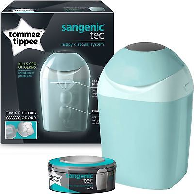 Tommee Tippee Sangenic Tec Nappy Disposal Tub Bin with 1 Refill Cassette - Green
