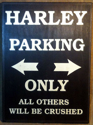 Tabella pannello Harley Parking Only in LEGNO 100%  Bikers
