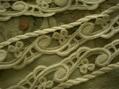 4YDS DRAPERY UPHOLSTERY WEIGHT Antique Vtg SCHIFFLI GUIPURE LACE *3-LEAF CLOVERS