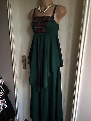 True Vintage Size 8-10* Bottle Green MR DARREN Long Dress 1970's