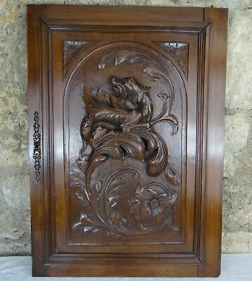 French Antique Carved Walnut Wood Archtectural Door Panel/Gothic Chimera Griffin