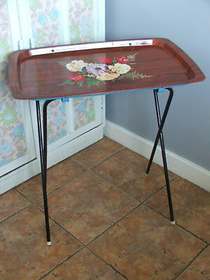 Old Vintage 1960's Metal Floral Folding Tray/Table
