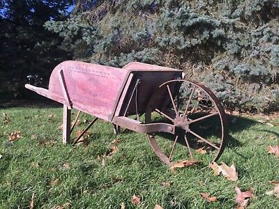 Antique/Vintage Wooden Wheelbarrow. Original Paint