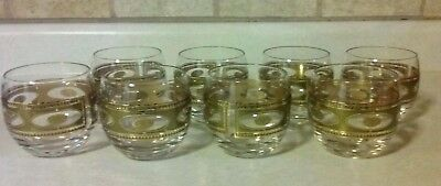 Culver Roly Poly Glasses Gold Accents 8 Cup Set Mid Century Lowball Barware Vtg