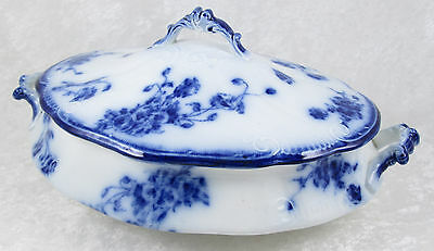 William Grindley Le Pavot Oval Flow Blue Covered Vegetable Dish Embossed 11-1/2