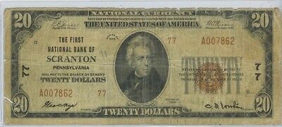 1929 $20 First National Bank Of Scranton PA. Charter#77 TYII National
