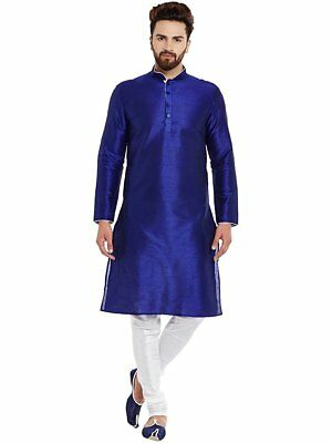 Indian Art Silk Shirt Kurta Solid Dark Blue Kurta Men's Cultural Shirt Top Kurta