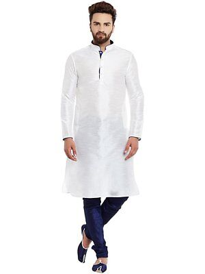 Indian Kurta Pajama Art Silk Men's Cultural Shirt Kurta Solid White & Blue Color