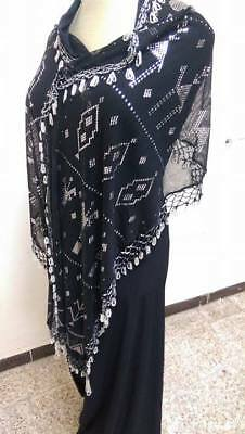 New Egyptian Assuit black & Silver Shawl HipScarf, Fabric, bellydance