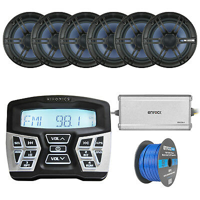 Marine Boat Stereo W/ Marine Speakers, 4-Chan Amp, Wire & BT Preamp Controller