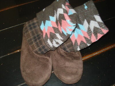 Ladies Small Luk Ees By Muk Luks Slippers Hard Sole Knit Upper