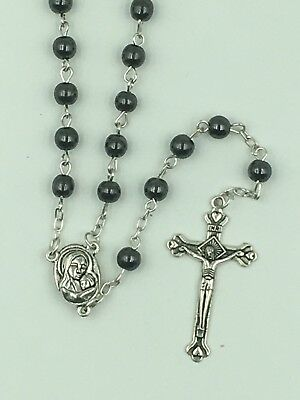 1st Communion Gift,Hematite Rosary, round beads, with Holyland Soil/Mary center
