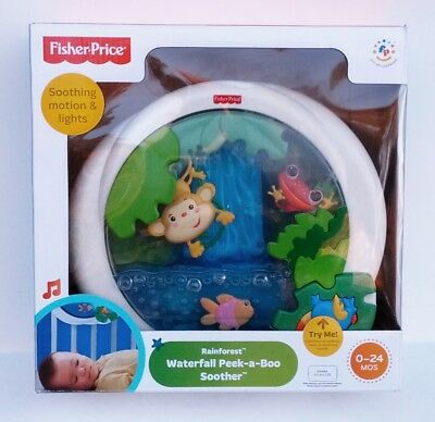 Fisher Price Rainforest Waterfall Peek-A-Boo Crib Soother Lullaby Lights