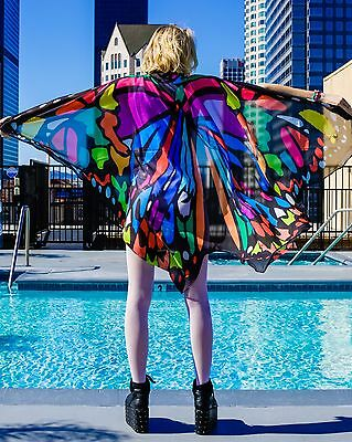 Neon Melting Rainbow Butterfly Wings Rave Cape