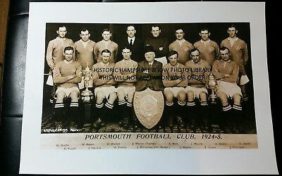 A4 Size Photoprint Of A Portsmouth   Football Club Postcard  Dated 1924