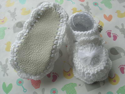 Christening shoes. Girl. 0-3 months. White. New. Hand made. Cotton/Leather.