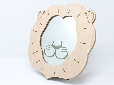 Wooden Lion Face Children's Wall Mirror Nursery 28cm