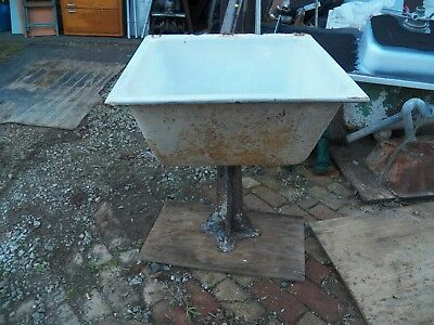 Vintage Cast Iron White Porcelain Farm Sink with Pedestal #1