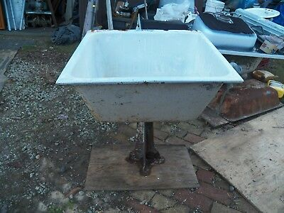 Vintage Cast Iron White Porcelain Farm Sink with Pedestal #2