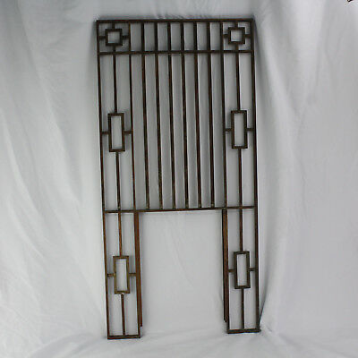 "Vintage Brass Art Deco Bank Teller Cashier Cage Window Frame Casino 18"" x 37"""