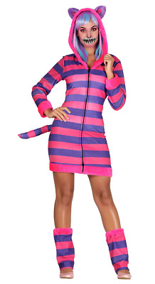Ladies Cheshire Cat Costume Alice in Wonderland Fancy Dress Fairytale Outfit