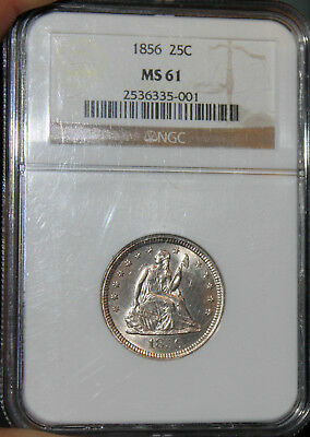 ~☆AWESOME~☆ MS-61 1856 Seated Liberty QUARTER NGC GORGEOUS COIN!!!