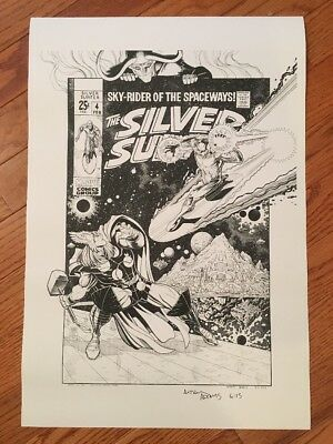 Arthur Adams SIGNED Silver Surfer 4 Art Print / Thor / Free Ship / NICE