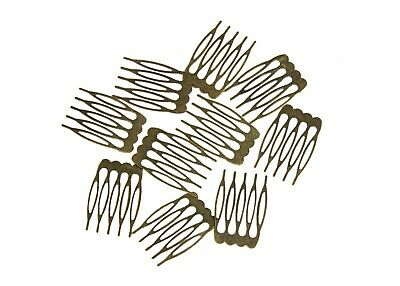 "Metal Millinery or Veil Hair Comb 1"" Wide Bronze - 10 Pieces"