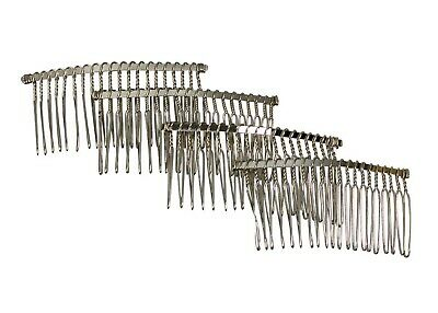 "Metal Twisted Wire Comb for Veils and Headpieces 3"" wide  Four Pieces - Silver"