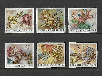 AUSTRIA 1968 Baroque Frescoes, mint set of 6, MNH MUH