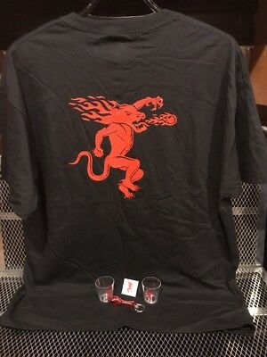 FIREBALL WHISKY Men's XL ~ PARTY SET ~ T Shirt Shotglasses Bottle Opener TATTOO