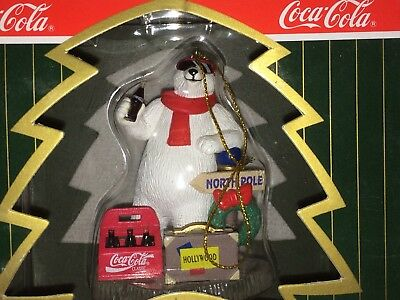1996 COCA COLA POLAR BEAR COLLECTION ORNAMENT Hollywood with Coke 6 Pack -In Box