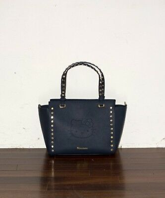 Ninamew x Hello Kitty Punching leather tote BAG Navy From Japan New F S 47903ed990f89