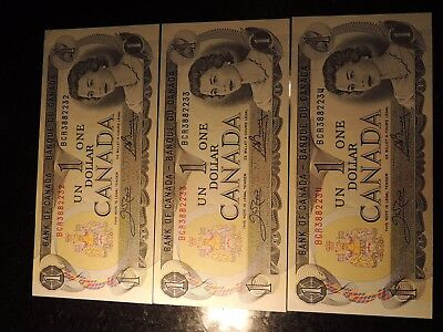 1973 BANK CANADA $1 ONE DOLLAR 3 CONSECUTIVES BCR 3882232-34 BC-46b CROW BOUEY