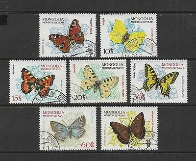 MONGOLIA 1963 Mongolian Butterflies, set of 7, used CTO
