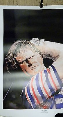 """Jack Nicklaus Limited Edition """"The Drive"""" Art Lithograph Golfen Bear 27x38 PGA"""