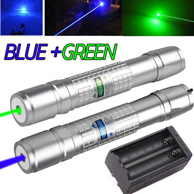 20Miles Range Green&Blue Laser Pointer Pen Visible Beam Light Lazer&Charger USA!