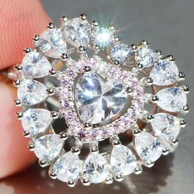 925 Silver Filled White Sapphire Birthstone Wedding Princesses Band Around Ring