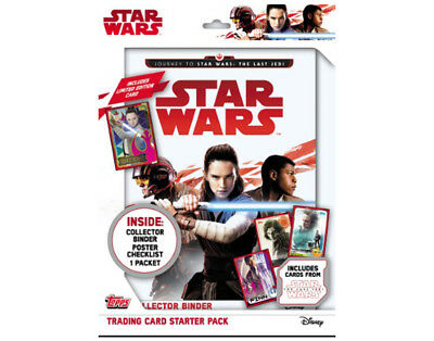TOPPS STAR WARS Journey to the Last Jedi Starter Pack + 2 FREE TRADING CARD PACK