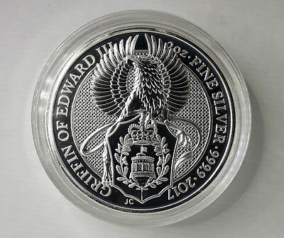 2 oz Queens Beast Griffin, 999.9 Silver, Excellent Condition In Coin Capsule