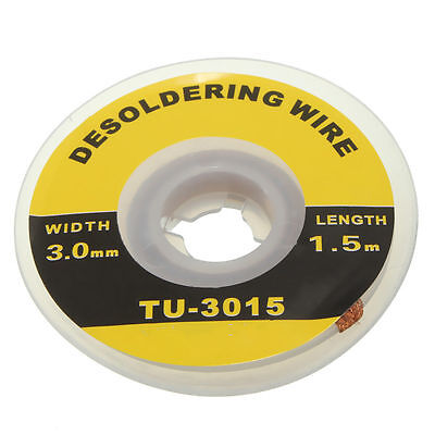 5 Feet /1.5M 3mm Desoldering Braid Solder Remover Wick Wire Repair Tool UK SSTHW